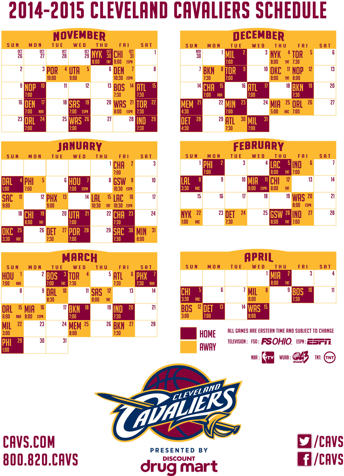 graphic regarding Cavs Schedule Printable referred to as 2014-15 Cleveland Cavaliers Program - WEOL Radio 930 AM