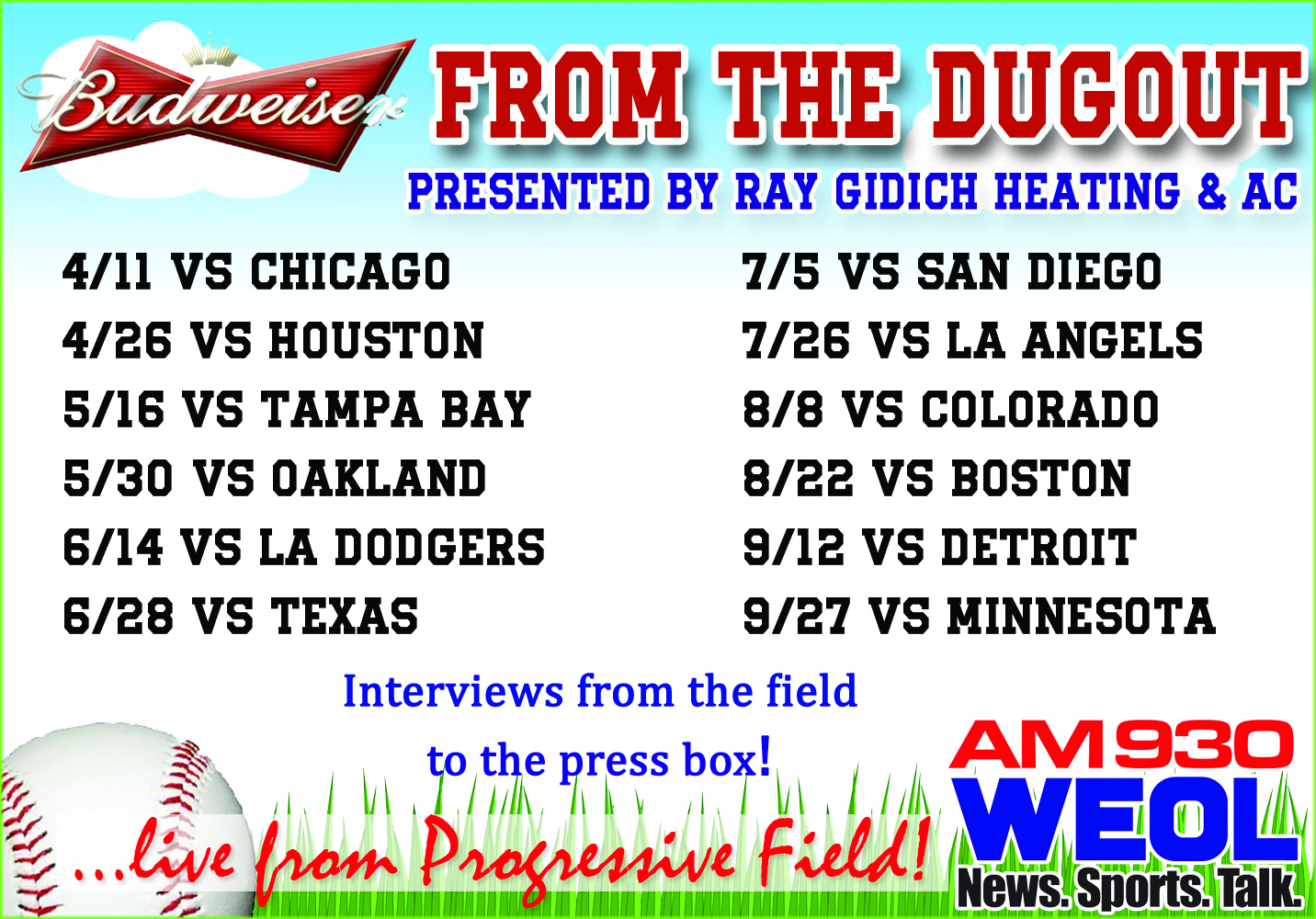 2017fromthedugoutschedule
